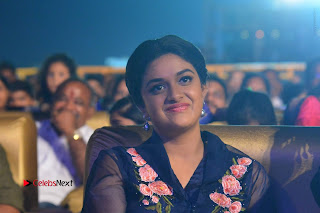 Actress Keerthi Suresh Stills in Blue Long Dress at Nenu Local Audio Launch  0062.JPG