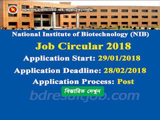 National Institute of Biotechnology (NIB) (ন্যাশনাল ইনস্টিটিউট অব বায়োটেকনোলজি)  Scientific Officer Recruitment Circular 2018