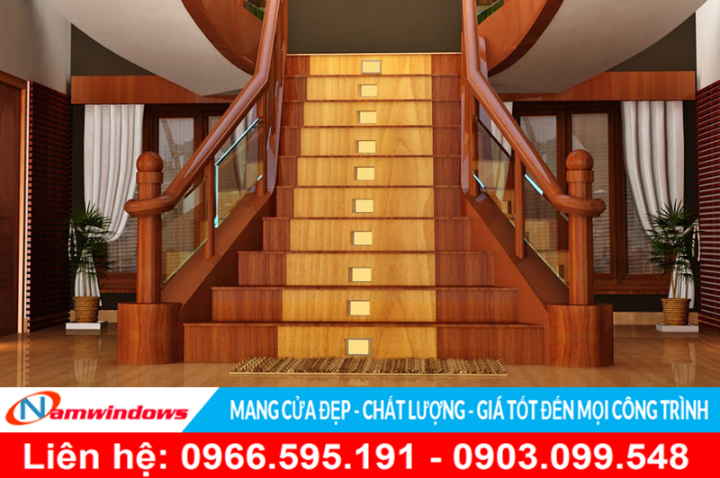 Cầu thang gỗ sử dụng cho biệt thự hoặc tiền sảnh