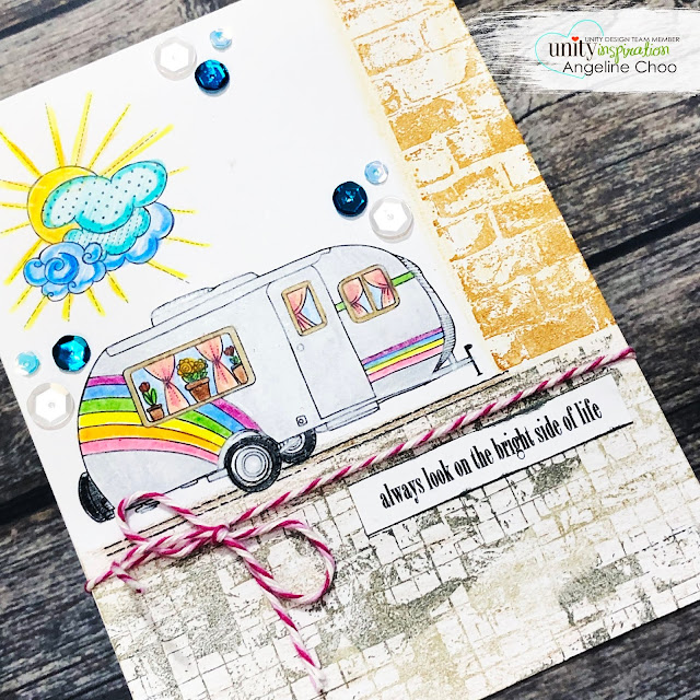 ScrappyScrappy: Week 2 of Unity Stamp Birthday Party - Adventure to the bright side #scrappyscrappy #unitystampco #card #cardmaking #youtube #quicktipvideo #adventuretothebrightside #campervan #brutusmonroe #backgroundstamps #coloredpencil #trendytwine #unitysequins