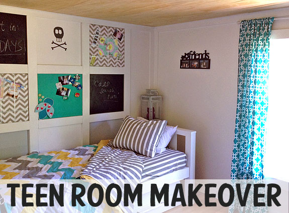 Teenage girl room makeover with fun and exciting colors but a bit of punk splashed in.