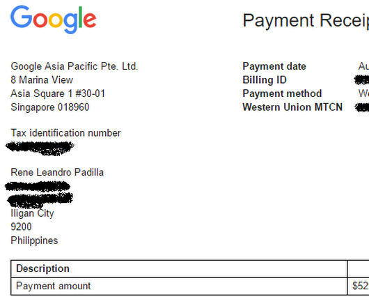 July Google Adsense Payment Report