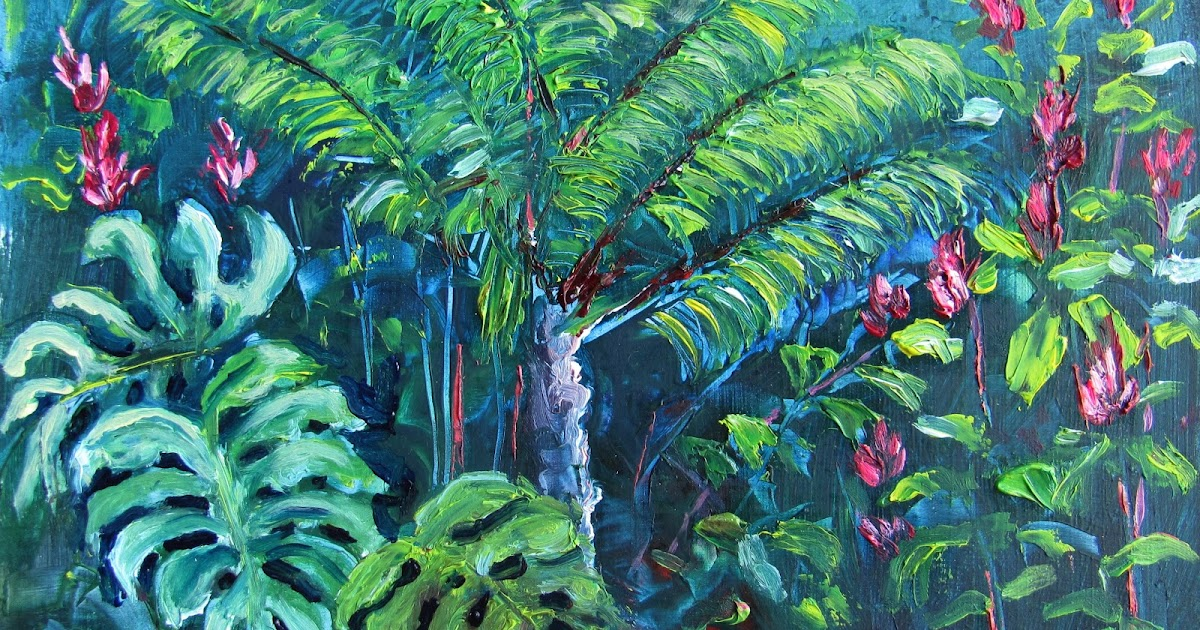 Heathcote Botanical Gardens: Lori's Stormy Art And Daily Paintings: 1609 SOLD Monstera