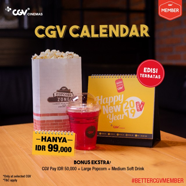 #CGV - Promo Kalendar Ekslusif 2019 Hanya 99K & Gratis Bonus Lainnya