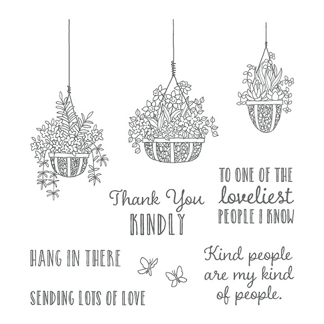 Hanging garden stamp set used at coffee and card with Jemini Crafts