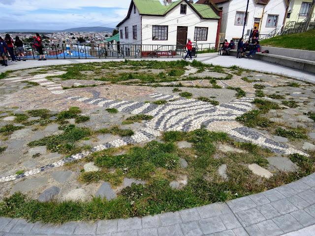 Mosaic featuring the Selk'nam people at Cerro de la Cruz in Punta Arenas