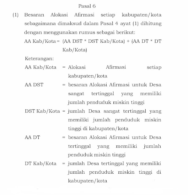 Tatacara Pengalokasian Dana Desa setiap Kabupaten/Kota