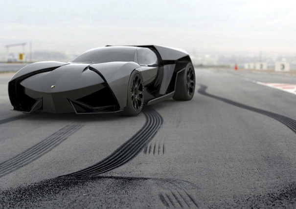 one sharp black lamborghini
