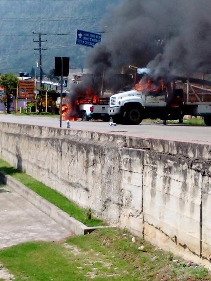Tres unidades quemadas, entre estas una de la comisión federal de electricidad