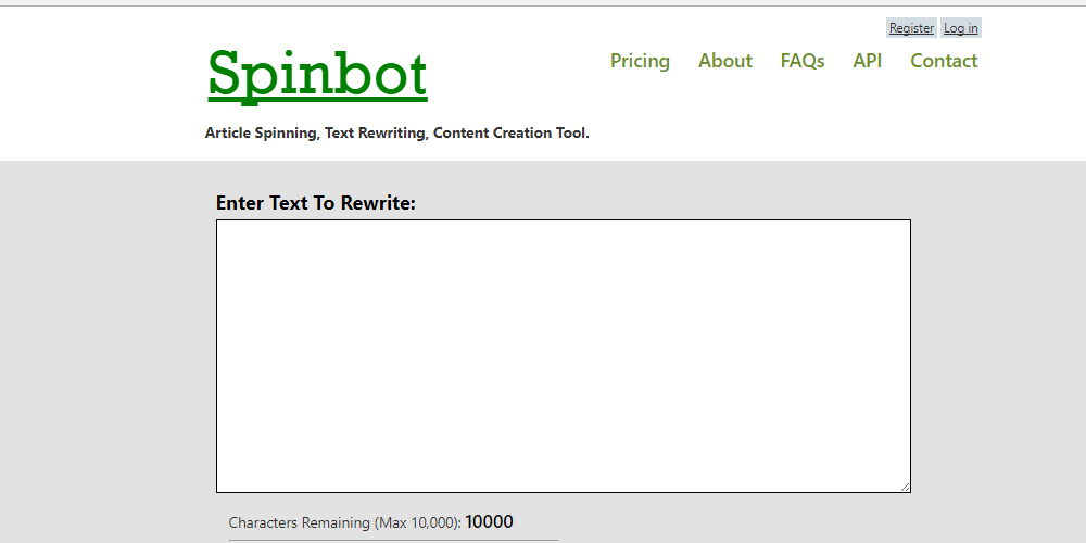 Spinbot is easy to use; enter your text, click the button, and you're done