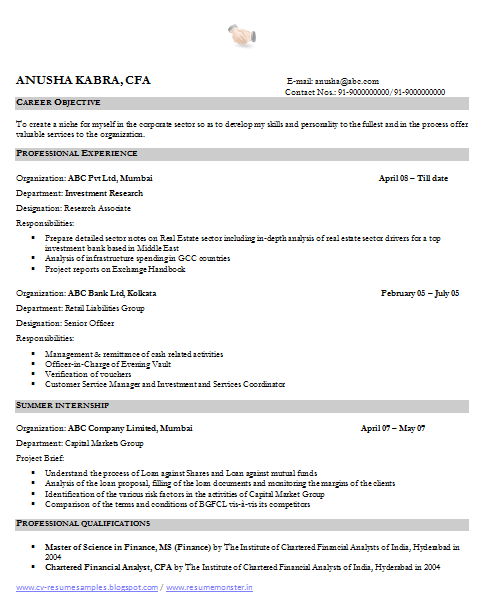sample resume financial analyst mba