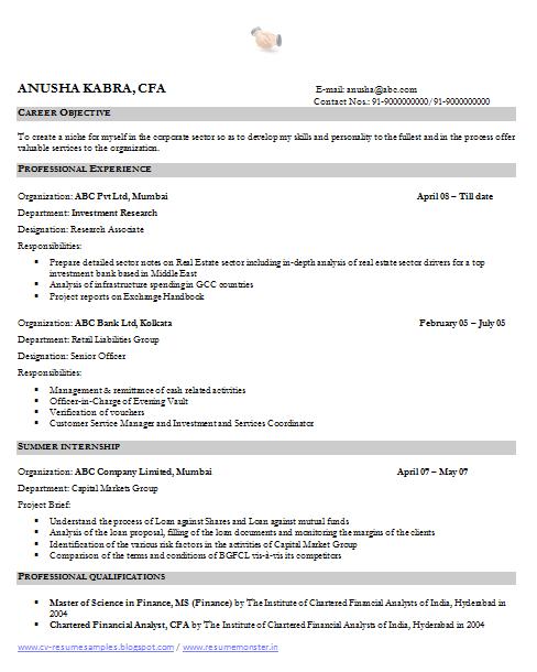 financial analyst resume sample » Free Professional Resume ...