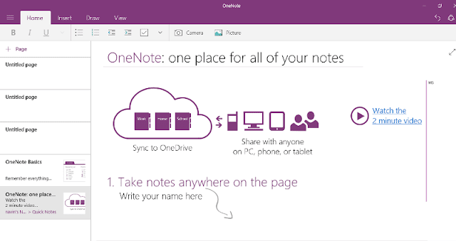 One note windows 10