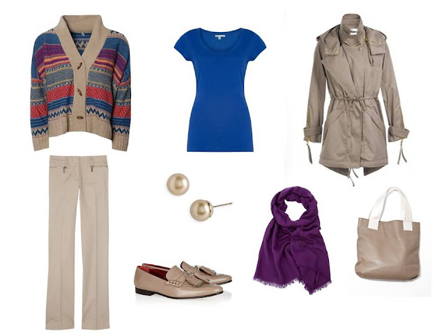 a travel outfit based on a Fair Isle cardigan in khaki and brights, with a blue tee and a purple scarf