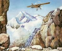 Dibujo del vuelo de Jorge Chávez pasando los Alpes a colores