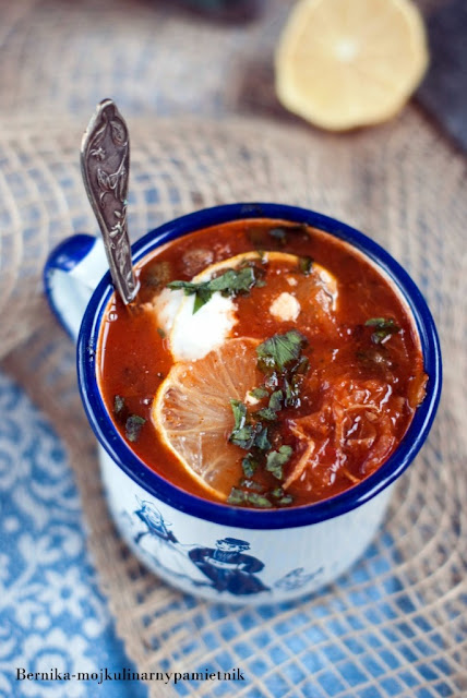 solianka, solanka, zupa, rosja, obiad, kapusta, bernika, kulinarny pamietnik, pomidorowa