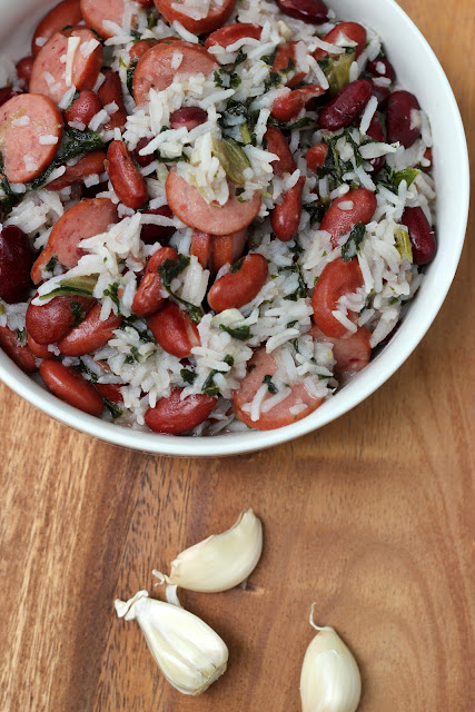 """Prepare this garlicky red beans and rice dish with a special """"green"""" ingredient!"""