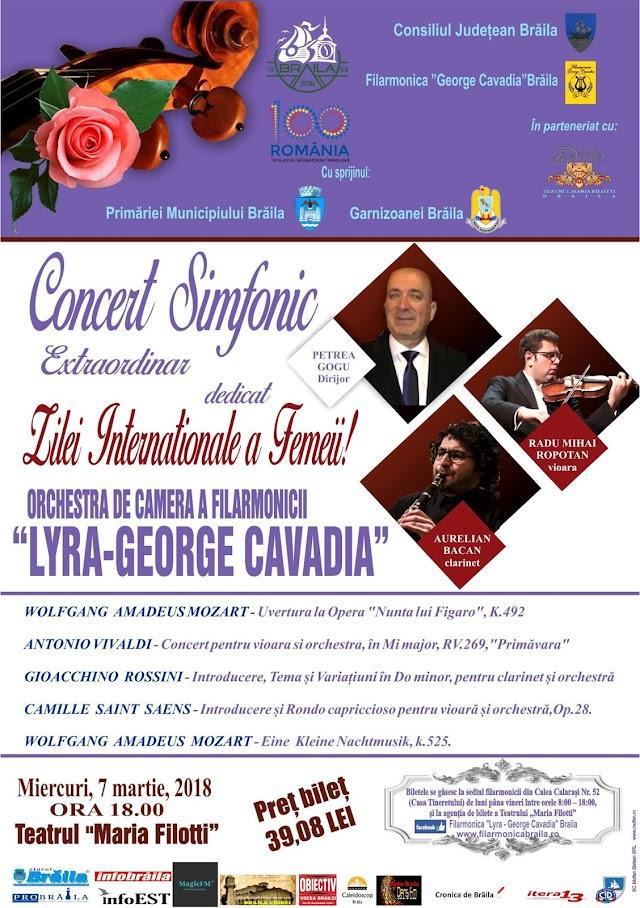 Concert Simfonic Extraordinar dedicat Zilei Internationala a Femeii sustinut de Filarmonica Lyra, in Sala Mare a Teatrului Maria Filotti
