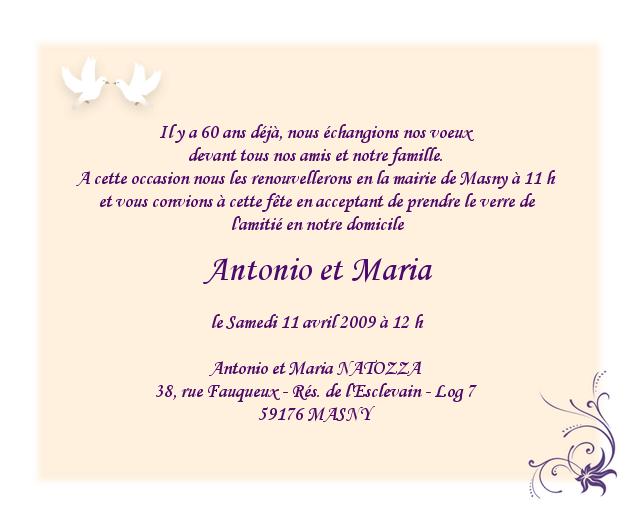 Texte d'invitation pour 1 an de mariage
