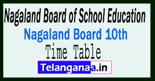 Nagaland HSLC Time Table 2018