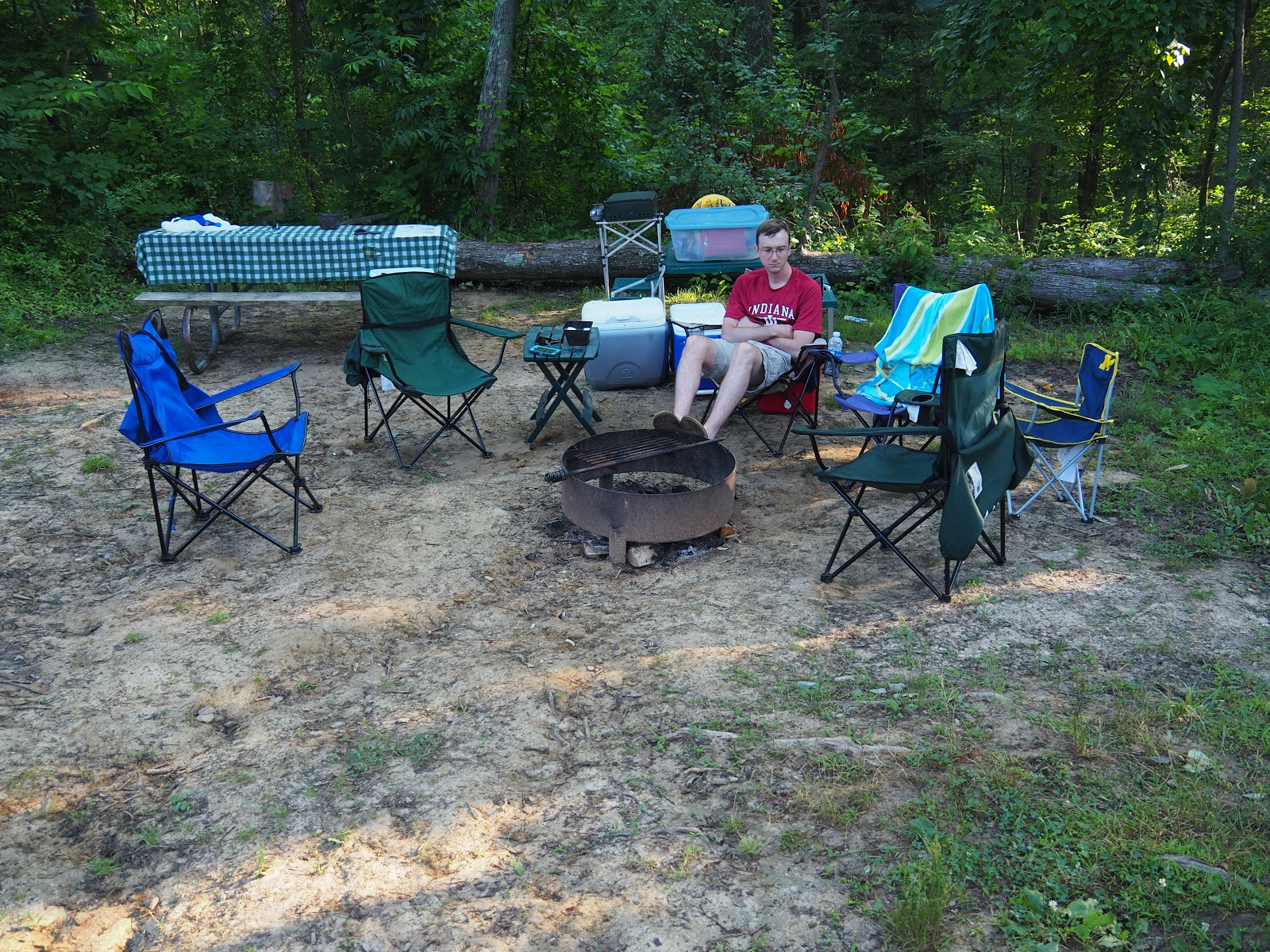 The Picnic Table Was Also Slanted But We Were Able To Find A Spot For The  Stove To Cook Things Evenly.