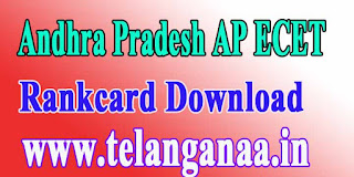 Andhra Pradesh AP ECET APECET 2017 Rankcard Download