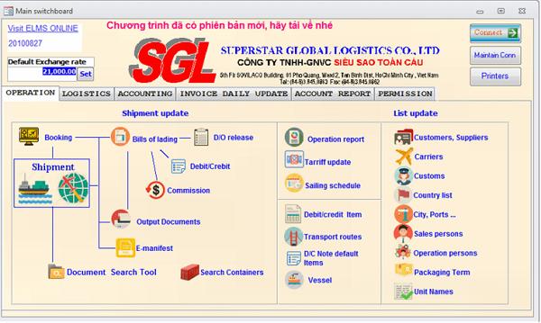 Phần mềm quản lý cho công ty Logistics và Forwarder FMS