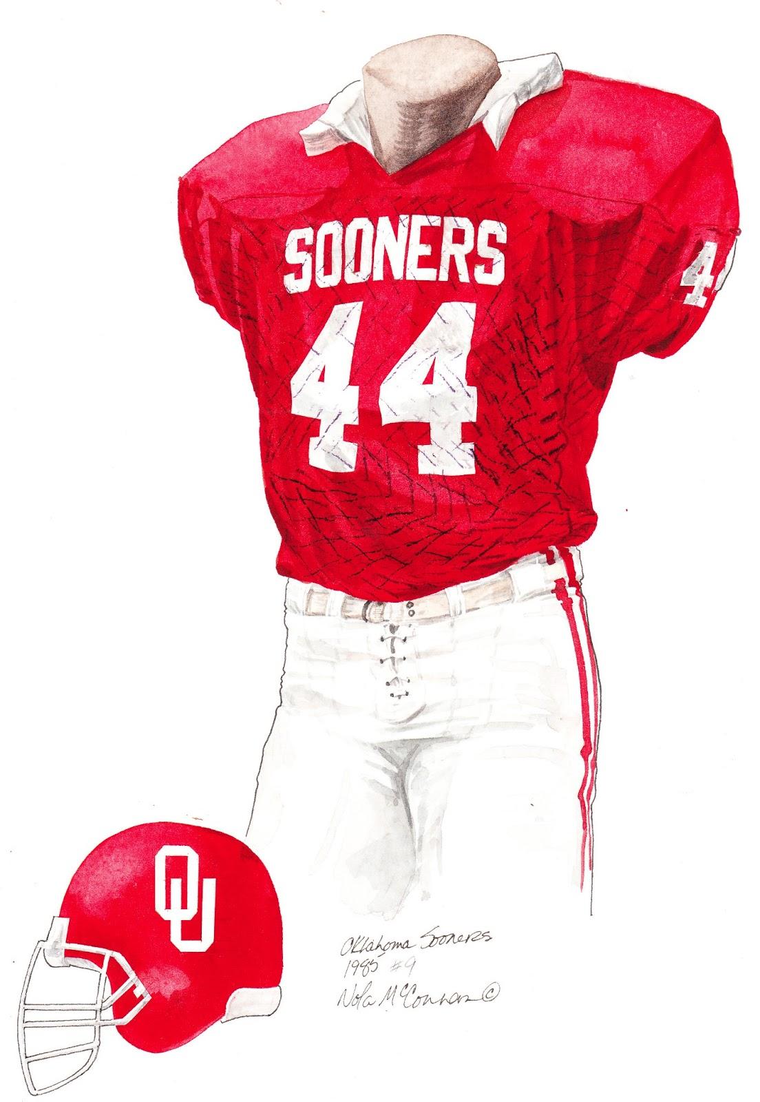 1985 University of Oklahoma Sooners football uniform original art for sale 5cad2ae64