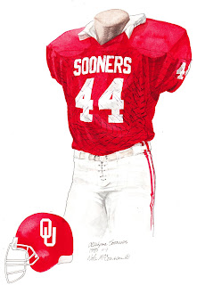 1985 University of Oklahoma Sooners football uniform original art for sale