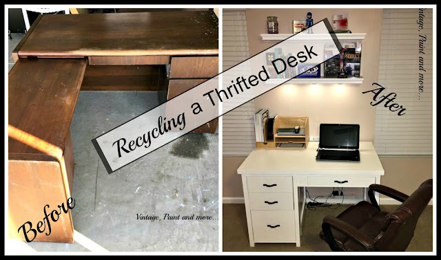 Recycled desk from a thrift store desk - diy
