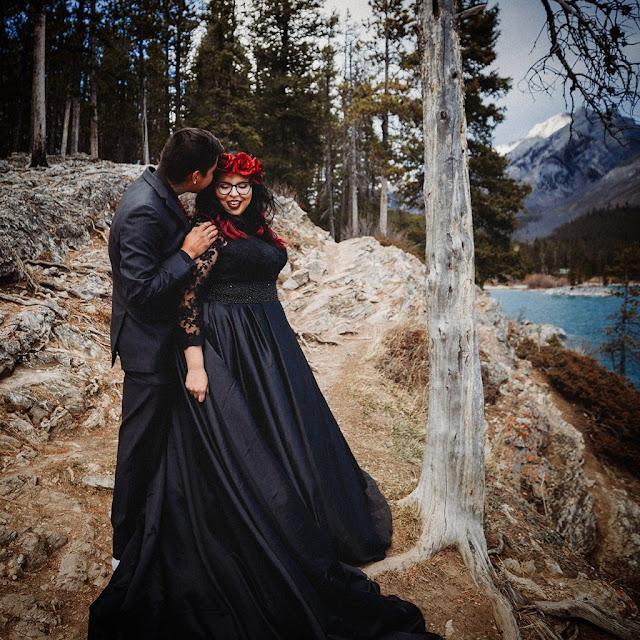 black ball gown wedding dress plus size
