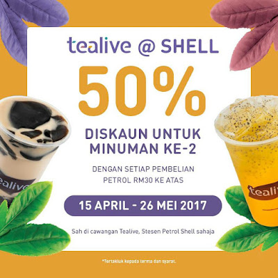 Tealive Asia Half Price Second Drink Shell Petrol Station Discount Promo