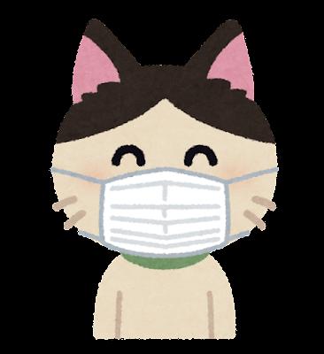 マスクを付けた猫のキャラクター