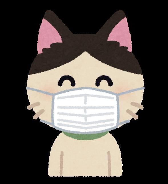 マスクを付けた猫のキャラクター | かわいいフリー素材集 いらすとや