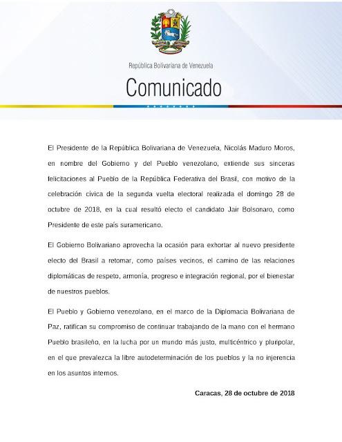 Gobierno de Venezuela invita a Bolsonaro a retomar relaciones diplomáticas de respeto