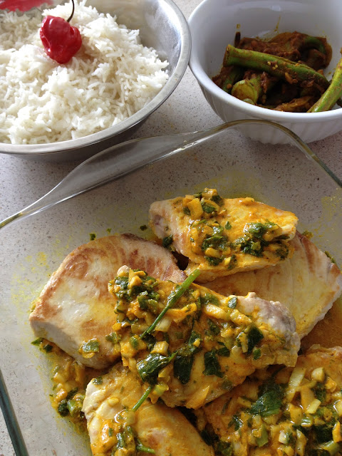 marlin,  poisson, curcuma, riz, persil, oignons, sweet kwisine, cuisine antillaise, turmeric, fish