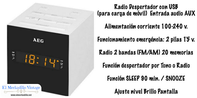 Radio Despertador Digital (Marca AEG)