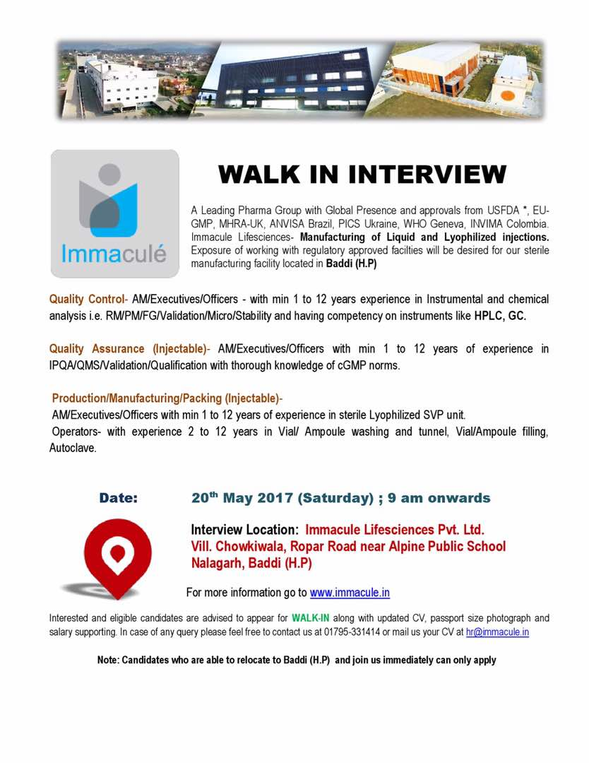 Pharma Vacancy: Walk in Interview for Immacule on 20 May 2017