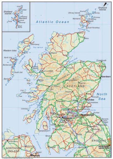 Escócia | Mapas Geográficos da Escócia