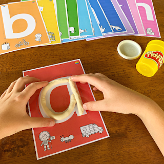 Lower Case Letter Playdough Mats | you clever monkey