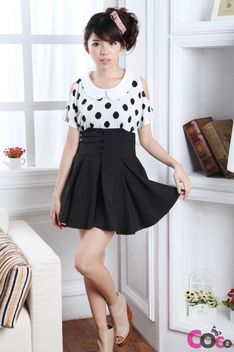 Kpop Fashion: Black High Waist Globed Cute Korean Fashion