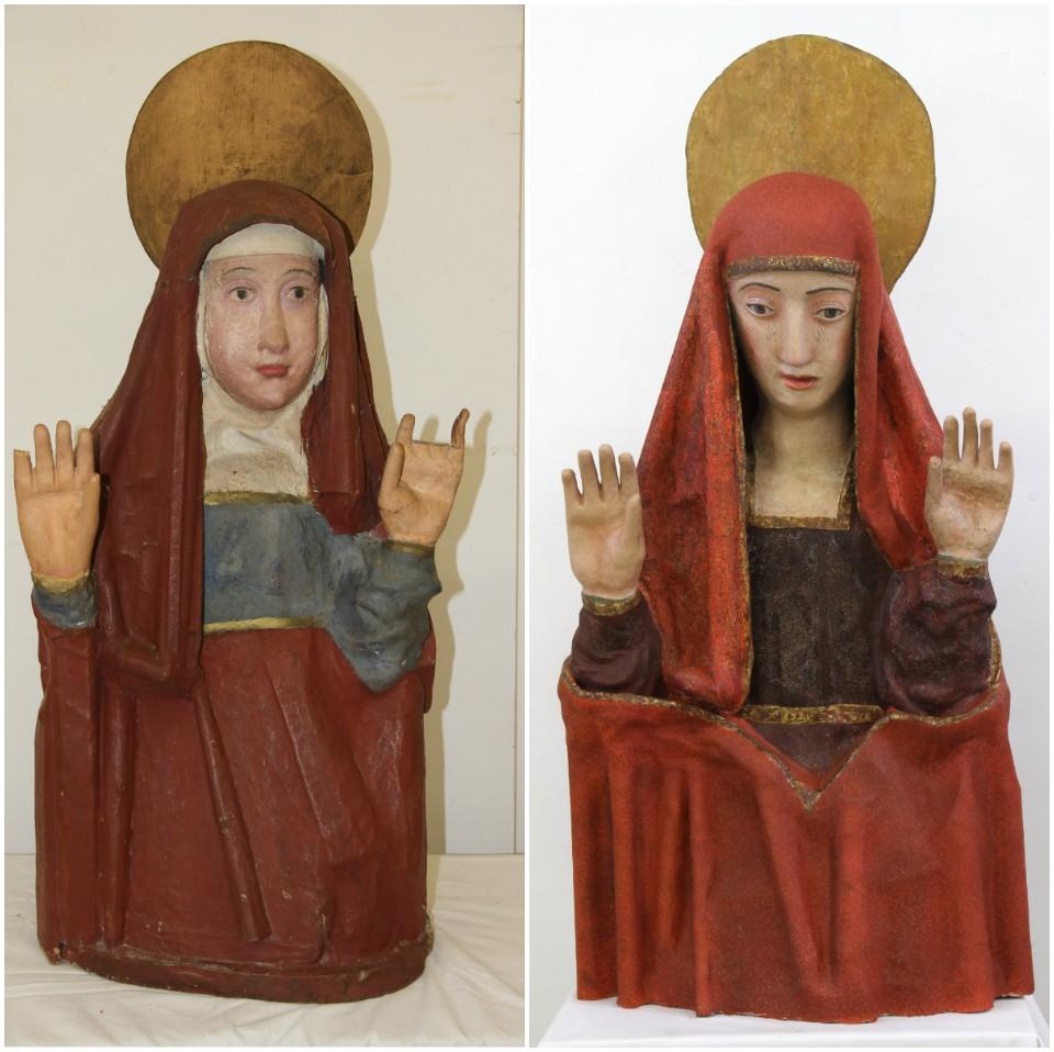 Comparativa de María Magdalena antes y después de la restauración