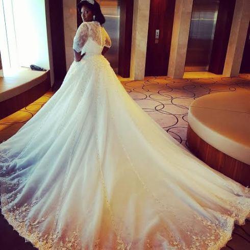 Tunde Demuren's wife, Toolz wedding dress