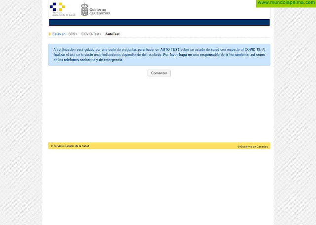 Sanidad activa un auto-test en su web dedicada a información sobre COVID-19