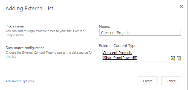 Create External List in SharePoint 2016