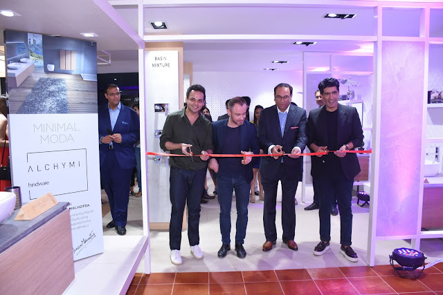Ribbon Cutting Ceremony at the Lacasa Store (From R to L) , Mr. Sandip Somany, VCMD - HSIL, Mr. Manish Malhotra