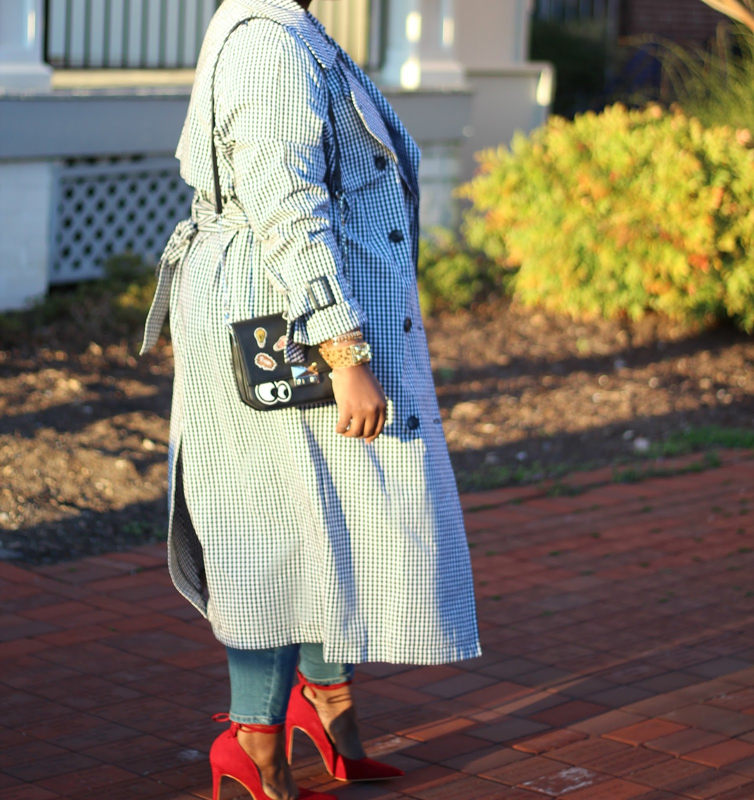 Next Gingham Trench & Distressed Jeans