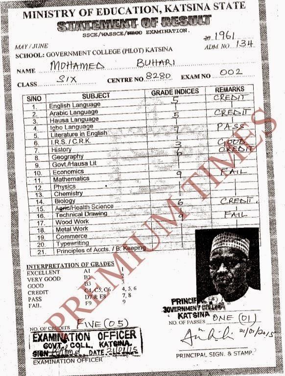 Buhari's WASCE certificate