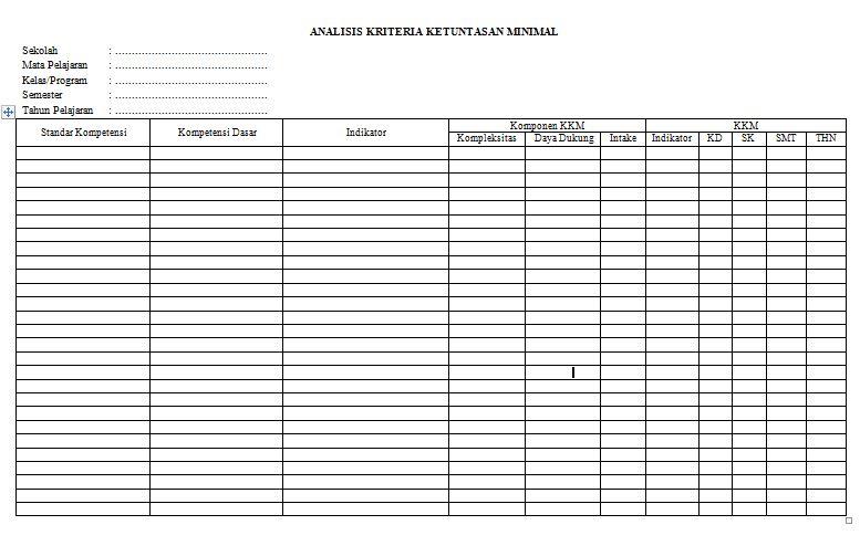 Download Tabel Perhitungan Analisis Kriteria Ketuntasan Minimal untuk Semua Jenjang Sekolah Tahun Ajaran 2016-2017 Format Microsoft Word