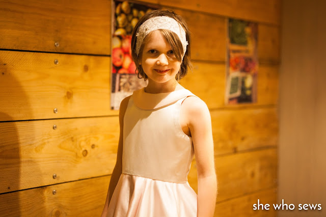 Silver silk bodice dress